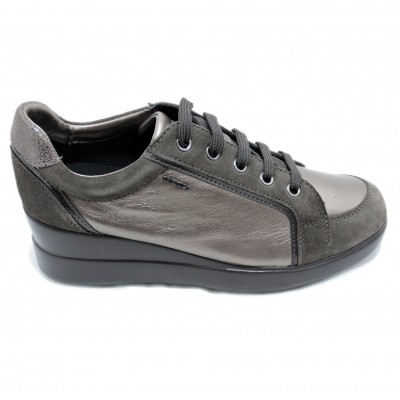 Geox Stardust Casual Metallic Shoes with Wedge and Laces Size 41 Color Brown