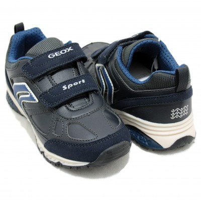 Geox Bernie - Blue Leather Sport with Two Velcro Closures Size 34 ... 026c673b94a