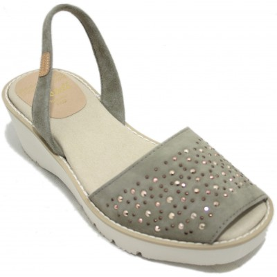 Castell 1896 - Avarcas Menorquinas Women Open with Platform and Wedge Khaki with Brilliant