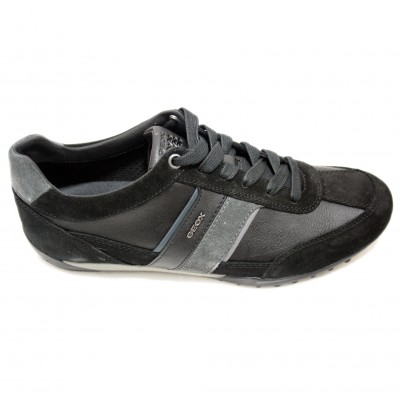 7f1bdd0333255b Geox Wells - Casual Leather Mens Shoes With Black And Gray Colors ...