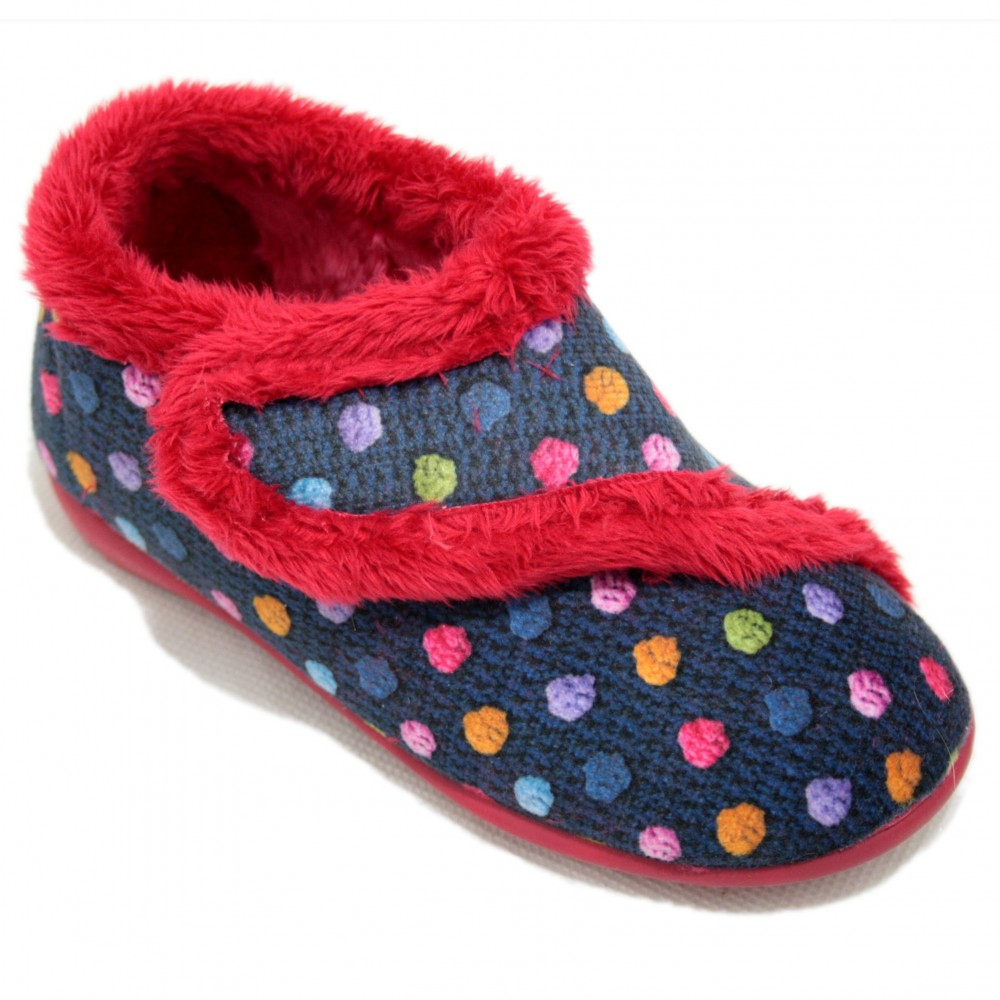 5ae203f56 Vulca Bicha 215 Marino - Closed Toe Home Slippers For Boys And Girls Navy  Blue With Polka Dots