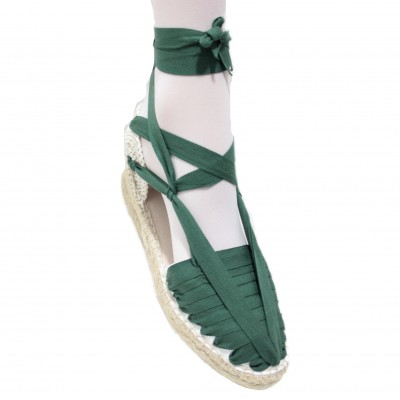 Mid Heel Espadrilles Pintxo or Set Vetes Dark Green