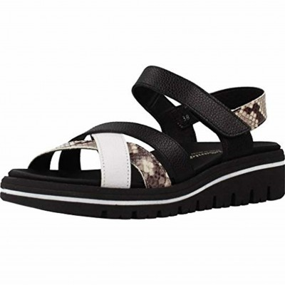 Pie Santo 200784 - Wide Women's Sandals with Very Comfortable Black and White Color Scheme