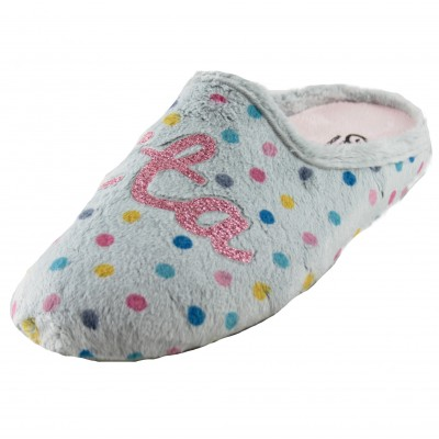 Cabrera 3023 - Gray Girl House Slippers with Colorful Polka Dots and BONITA in Bright