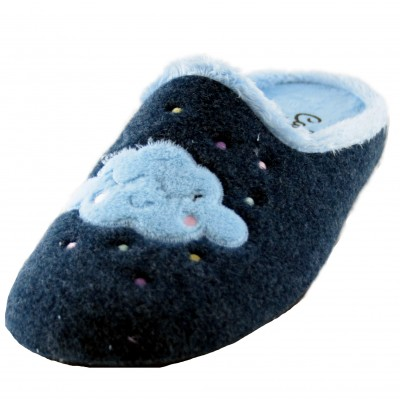 Cabrera 3026 - House Slippers Girl Dreams Big with Cloud in Blue Tones