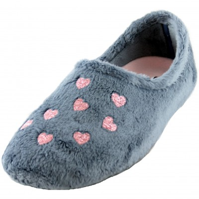 Cabrera 3037 - Blue Closed House Slippers with Pink Sparkling Hearts