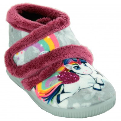 Vulcabicha 1090 - Gray Velcro Closed Children's House Slippers with Unicorn and Glitter Drawing