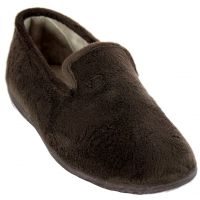 Vulcabicha 4639 - Soft Smooth Furry Closed House Slippers in Gray and Brown