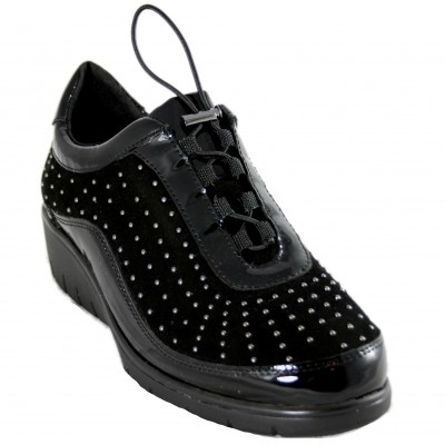 Doctor Cutillas 60318 - Women's Leather Shoes with Silver Studs and Elastic Laces in Black and Burgundy
