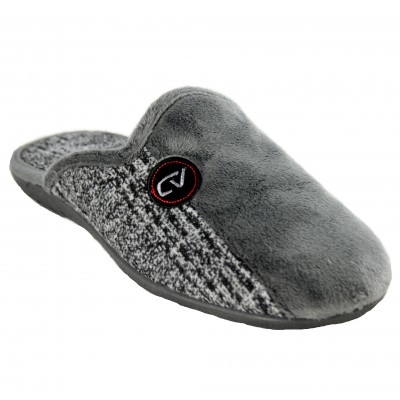 Cabrera 9524 - Men's Gray Plain House Slippers Combined with Heather Gray