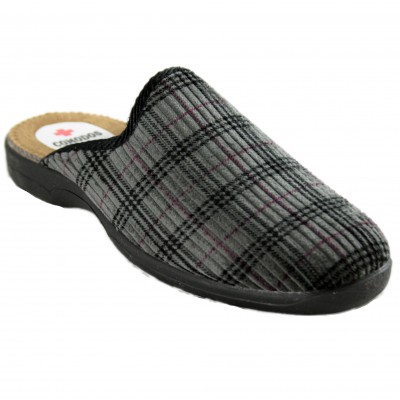 Ruiz y Gallego 630 - Men's Classic House Slippers in Corduroy Gray Plaid
