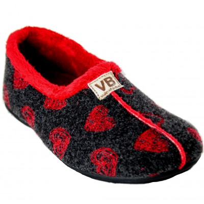 Vulca Bicha 4305 - Woman Closed Gray House Slippers With Red Hearts Or Blue With Pink Hearts
