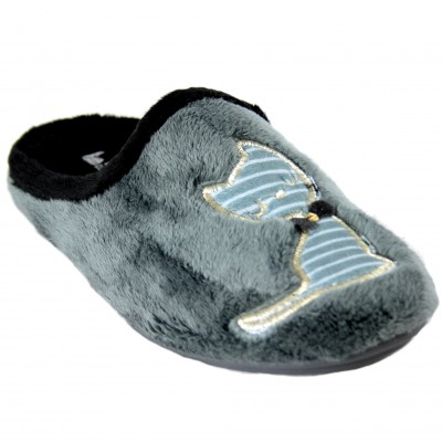 Vulcabicha 4352 - Gray Woman House Slippers With Cat With Black And Gold Bow