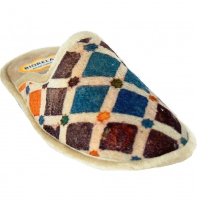 Biorelax Cosdam 4621 - Cushioned House Slippers With Brown and Blue Colored Diamonds