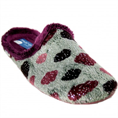 Muro 2702 - Girl Gray House Slippers With Purple Clouds And Soft Glitter
