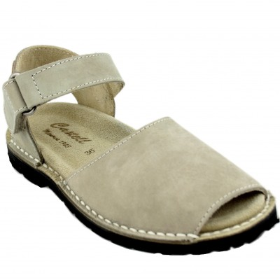 Castell 1062 Rolls Vecco 688 - Avalanches Menorcan for Men with Anatomical Sole and Velcro Closure in Soft Beig Color
