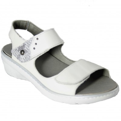 Fluchos F0763 - Women's Leather Sandals with Removable Insole and Two Velcro Clasps with Silver Details