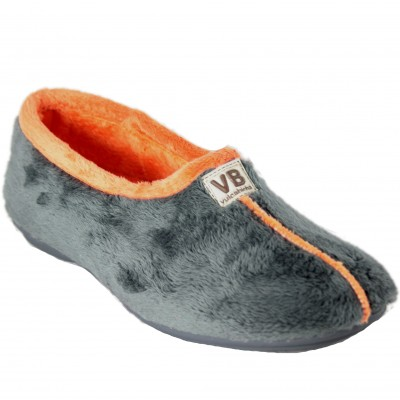 Vulcabicha 4306 - Women's Shoes Closed Soft Comfortable Flat Gray and Orange Color