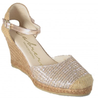 Cabrera 78-7 - Metallic Covered High Heel Espadrilles With Buckle