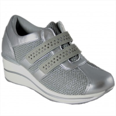 Doctor Cutillas 71222 - Sneakers With Heel And Velcro Platform Soft And Breathable Fabric With Rhinestones