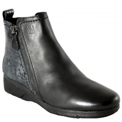 24 Hours 24731 - Ankle boots in smooth black leather and engraved snakeskin with very light zipper