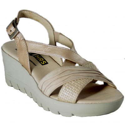 24 Hours 23626 - Sandals With Heel And Beige Platform With Very Light Cross Front Buckle