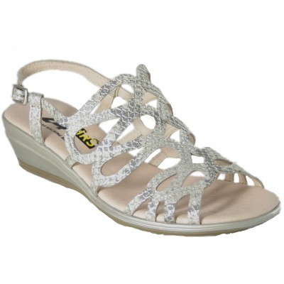 24 Hours 24509 - Sandals With Bright Silver Braided Small Wedge Very Light