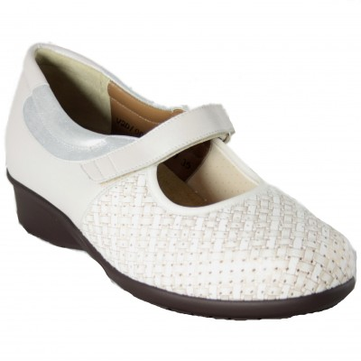 Alviflex 8417 - Mary Janes Broken White Color Special Wide Removable Insole With Velcro And Adaptable Leather