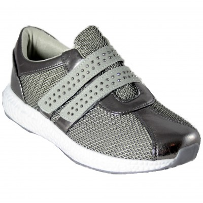 Doctor Cutillas 13723 - Trainers With Breathable Gray And Silver Fabric With Shiny Velcro Insole With Removable Memory
