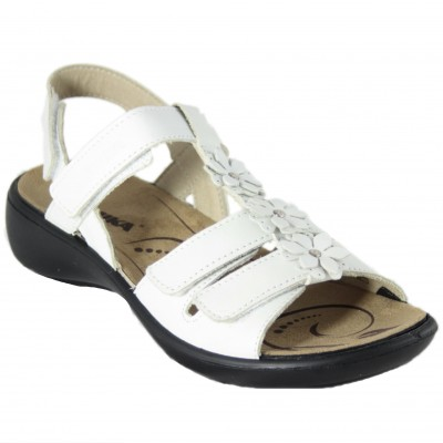 Romika Ibiza 95 - White Leather Sandals With Adaptable Flowers With Velcro And Removable Insole