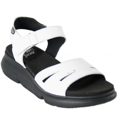 On Foot 90302 - White Leather Sandals With Black Sole Light, Comfortable And Velcro Closure