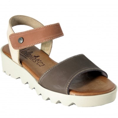 Valeria's 7144 - Combination Brown Leather Sandals With Wedge And Velcro Closure