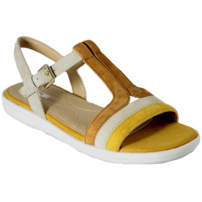 Geox Jearl Sand - Soft Leather Flat Sandals Mustard Ocher Colors With Buckle Closure