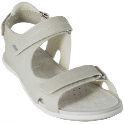 Geox Sand Vega D52R6A - White Leather Sandals Comfortable Sports With Adaptable Velcro Closures