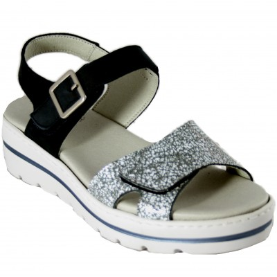 Notton 2011 - Leather Sandals With Removable Insole Adaptable With Velcro Navy Blue And Silver