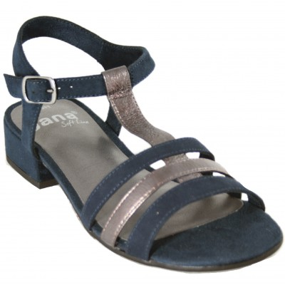 Jana 28261 - Navy Blue Leather Sandals With Small Wide Heel