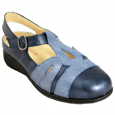 Doctor Cutillas 53695 - Blue Leather Closed Sandals Special Wide Removable Insole