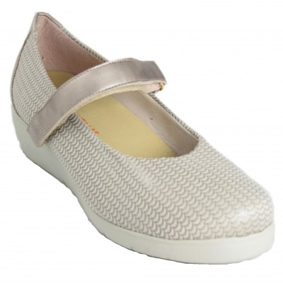 Doctor Cutillas 83754 - Beig Mary Janes Made of Adaptable Fabric with Shiny Velcro Bracelet Removable Insole