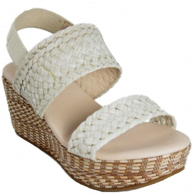 Celia Company 1601 - White Braided Leather Sandals With High Heel And Platform