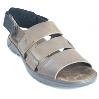 Fluchos F1200 - Brown Leather Open Sandals With Soft Back Zipper