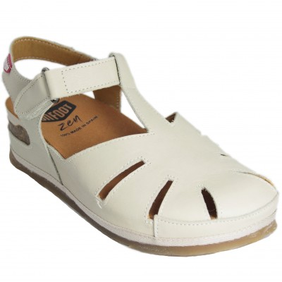 On Foot 202 - Women's Ice Color Leather Closed Sandals Velcro Closure