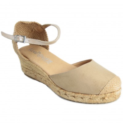 KonPas 1553-3 Lisa - Plain Leather Half Wedge Espadrilles In Taupe And Black