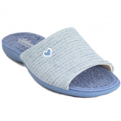 Cabrera 4351 - Light Blue Cotton And Terry Slippers With Stripes And Heart