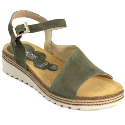 Dorking D8540 - Khaki And Taupe Twisted Leather Sandals With Buckle