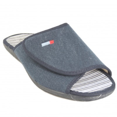 Cabrera 9537 - Summer House Slippers With Adaptable Velcro On Smooth Upper Navy Blue