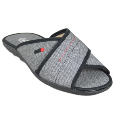 Cabrera 9546 - Open Toe Summer Cotton Cross Straps Slippers In Gray