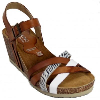 Dorking D8551 - Sandalias De Piel Con Suela Anatómica Marrons Con Detalle De Zebra