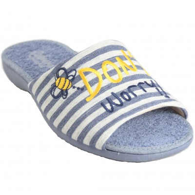 Cabrera 4354 - Cotton And Rixo Summer Slippers With Don't Worry Bee Happy Message