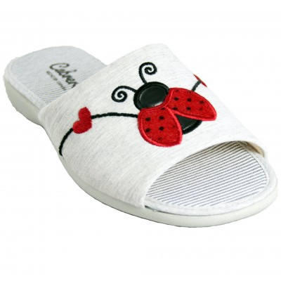 Cabrera 4355 - Light gray cotton summer slippers with drawings of cute ladybugs