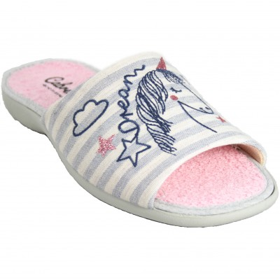 Cabrera 4357 - Gray uncovered cotton and terry slippers with unicorn print